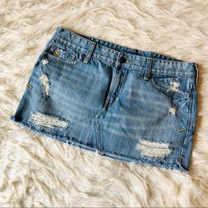 Abercrombie Distressed Cut Off Jean Skirt